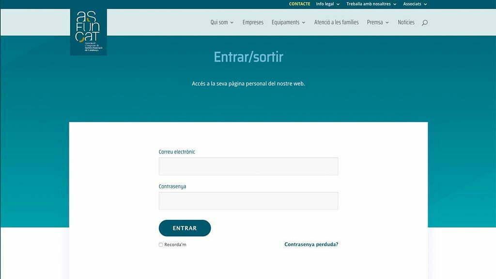 Pàgina d'entrada al web intern Asfuncat